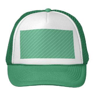 Jade Green Diagonal Stripes. Pattern. Cap