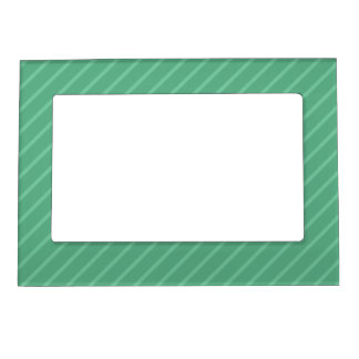 Jade Green Diagonal Stripes. Pattern. Magnetic Frame