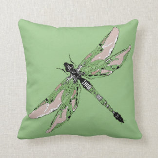 Jade Green Dragonfly Reversible Pillow by Sharles