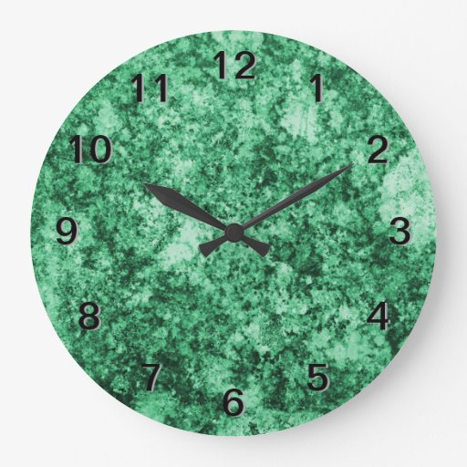 Jade Green Grungy Abstract Design Clock