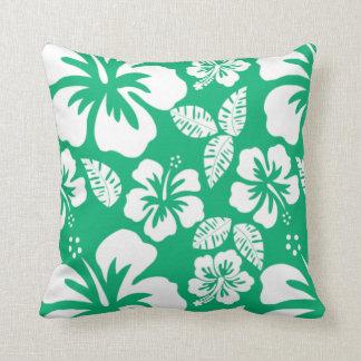 Jade Green Hawaiian Tropical Hibiscus Cushion