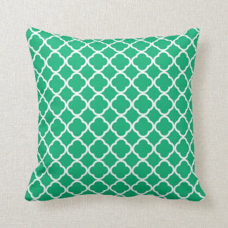 Jade Green Moroccan Quatrefoil Throw Pillow