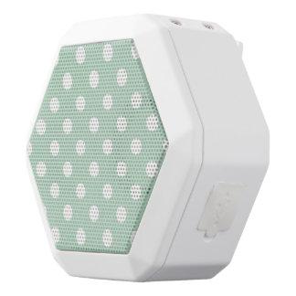 jade green,polka dot,white,cute,girly,trendy,fun white boombot rex bluetooth speaker