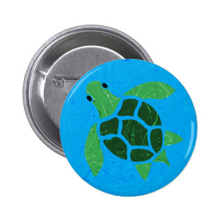Jade Green Sea Turtle on Marble Ocean Blue 6 Cm Round Badge