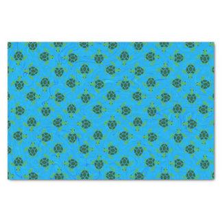 Jade Green Sea Turtle on Ocean Blue Background Tissue Paper