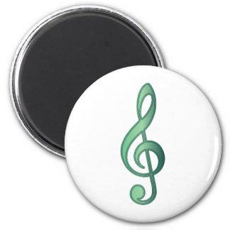 Jade Green Treble Clef 6 Cm Round Magnet