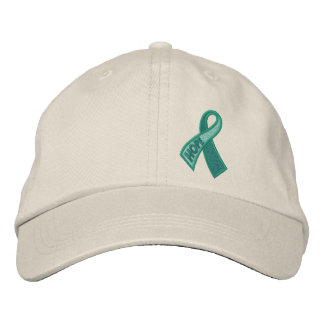 Jade Hope Cancer Ribbon Awareness Embroidered Hats
