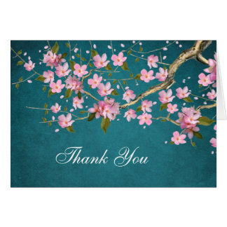 Jade Pink Japanese Cherry Blossoms Thank You Cards