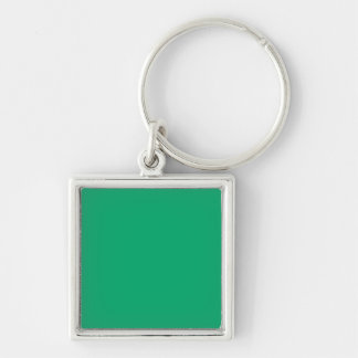Jade Solid Color Silver-Colored Square Key Ring