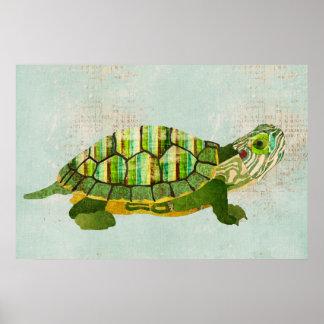 Jade Turtle Azure Art Poster