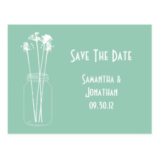Jade White Mason Jar Wildflowers Save The Date Postcard