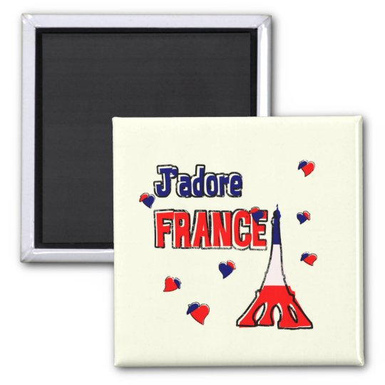 J'Adore France Square Magnet