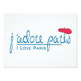 j'adore Paris (I love Paris) with red beret 14 Cm X 19 Cm Invitation Card