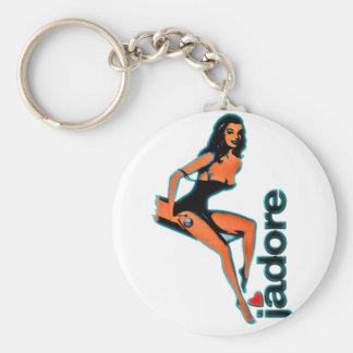 J'adore Pin up Girls Basic Round Button Key Ring