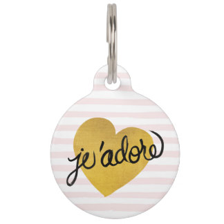 J'adore Quote | Black & Gold Heart Pet Tag