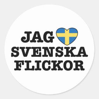 Jag Svenska Flickor Round Sticker