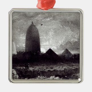 Jagannath Temple, engraved by A. Picken, 1837 Silver-Colored Square Decoration