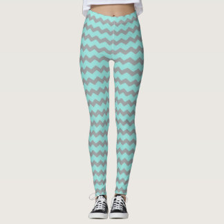 Jagged Little Chevron Leggings Mint