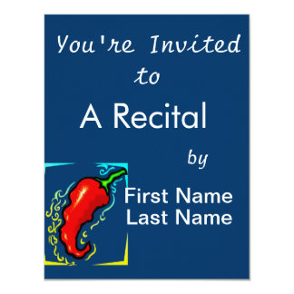 Jagged red pepper yellow blue frame 11 cm x 14 cm invitation card