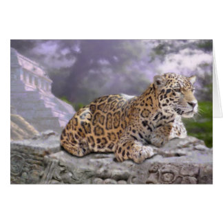 Jaguar and Mayan Temple Card