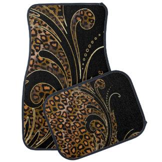Jaguar Animal Print Swirls | Brown | Personalize Floor Mat