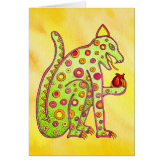 Jaguar Eating Heart (yellow wc) Card