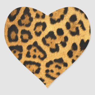 Jaguar Fur Print Heart Sticker