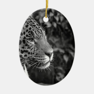 Jaguar in black and white christmas ornament