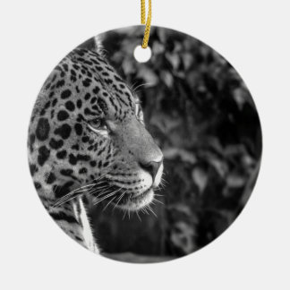 Jaguar in black and white christmas ornament