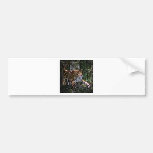 Jaguar leaping in the forest bumper stickers