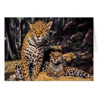 Jaguar Mom & Cub Greeting Card