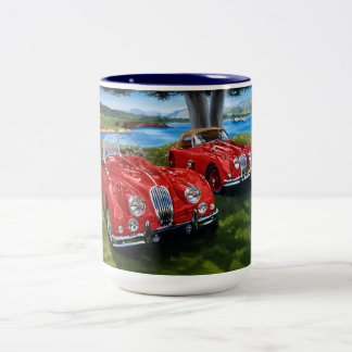Jaguar painting Two-Tone coffee mug