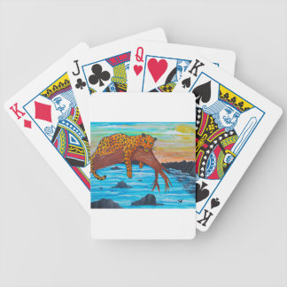 Jaguar reposing on branch bicycle playing cards