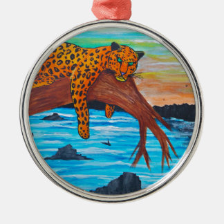 Jaguar reposing on branch christmas ornament