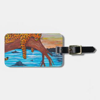 Jaguar reposing on branch luggage tag