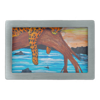 Jaguar reposing on branch rectangular belt buckles