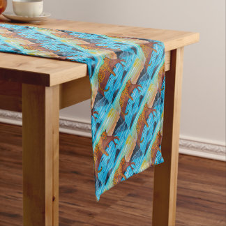 Jaguar reposing on branch short table runner