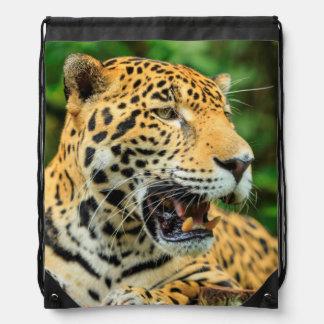 Jaguar shows its teeth, Belize Drawstring Bag