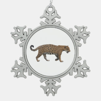 Jaguar Snowflake Pewter Christmas Ornament