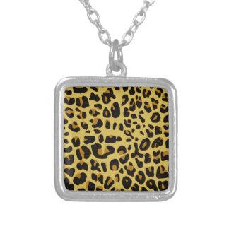 Jaguar Texture Square Pendant Necklace
