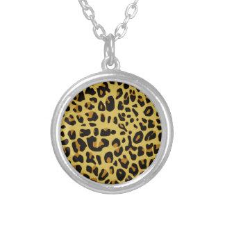 Jaguar Texture Round Pendant Necklace