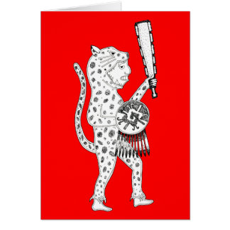 Jaguar Warrior Card (white on red)