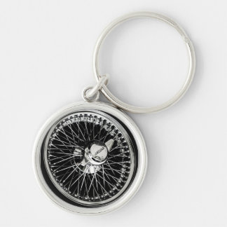 Jaguar Wheel Silver-Colored Round Key Ring