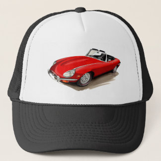 Jaguar XKE Red Car Trucker Hat