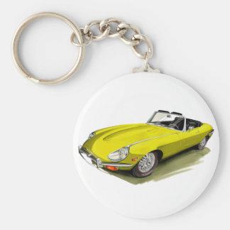 Jaguar XKE Yellow Car Key Ring