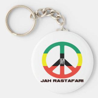 Jah Rastafari Peace Sign Selassie I Basic Round Button Key Ring