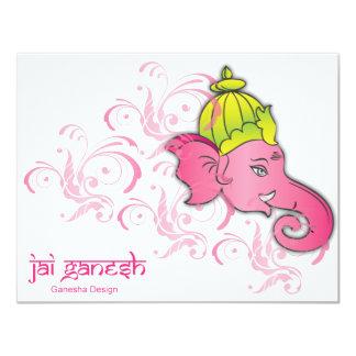 Jai Ganesh Elephant Designs 11 Cm X 14 Cm Invitation Card