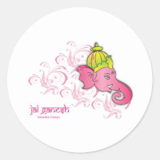 Jai Ganesh Elephant Designs Round Sticker