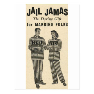 Jail Jamas - the daring gift for married folks! Postcard