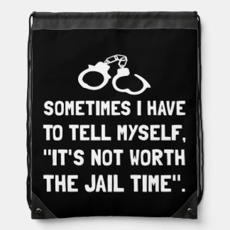 Jail Time Drawstring Bag